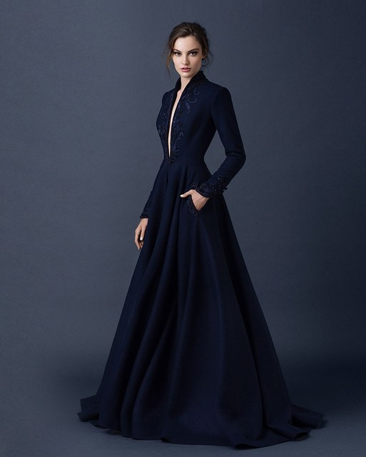 c523b336644 Women 2016 New Gothic Elegant Long Sleeve Evening Dresses Dubai Abaya Navy  Blue Arabic Evening Gowns with Sleeves Bayan Abiye E