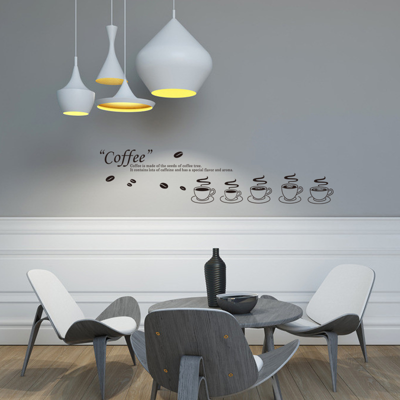 Schwarz Dekorative Wand Vinyls Kche Aufkleber Kaffee Wandkunst Adesivo De Parede Home Dekoration Abnehmbare Fliesen R