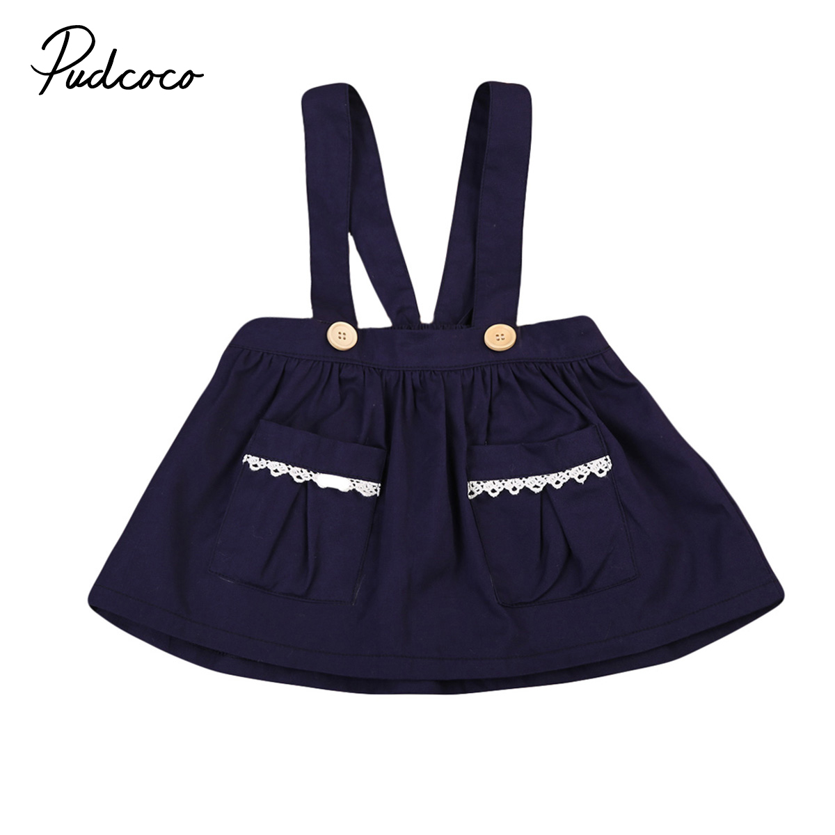 Pudcoco 0-3Y Baby Girls Dresses Sleeveless Pocket Braces Above Knee Casual Autumn Party Dresses 6M-3Y
