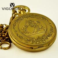 VIGOROSO Luxury Pocket Watch Antique Wind up Mechanical Watch High Quality Pure Copper Fob Chain Clock Roman Numerals Analog Men