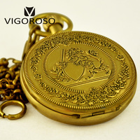 VIGOROSO Luxury Pocket Watch Antique Wind up Mechanical Watch High Quality Pure Copper Fob Chain Clock Roman Numerals Analog Men