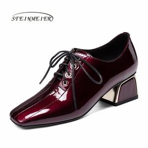 Image 1 - נשים קיץ עקבים גבוהים אופנה עור אמיתי משאבות אביב עבה נעלי עקבים כיכר טו שרוכים העקב אישה נעלי 2020