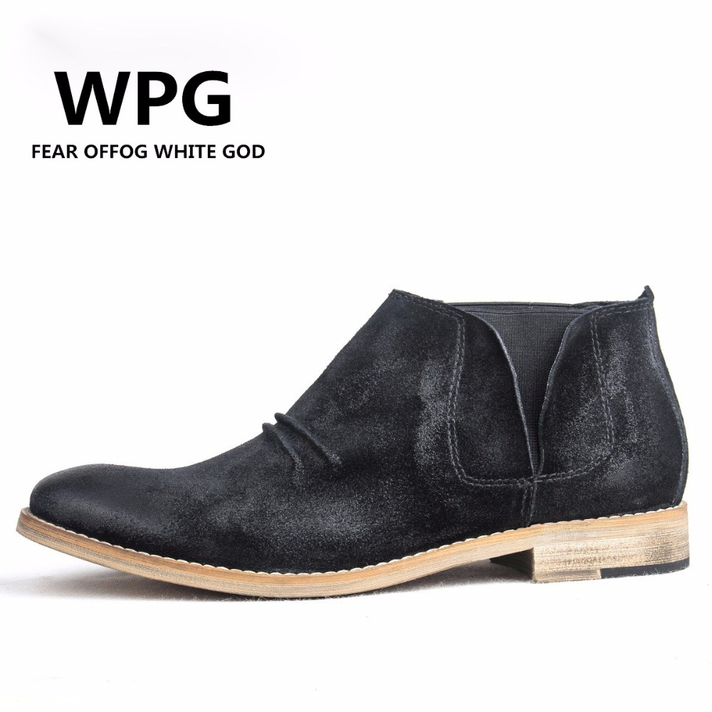 047220e8582 US $49.39 35% OFF|WPG 2018 Chelsea boots men brand designer martin style  slp Genuine Leather ankle boots men west boots mens shoes-in Chelsea Boots  ...