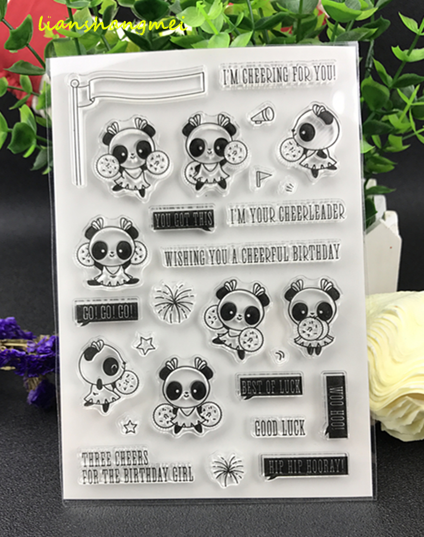 Transparent silicone seals, stamps, panda BB, stamps for you cheer, stamp / scrapbook, album DIY, decorative leaves, Clear Stamp недорого