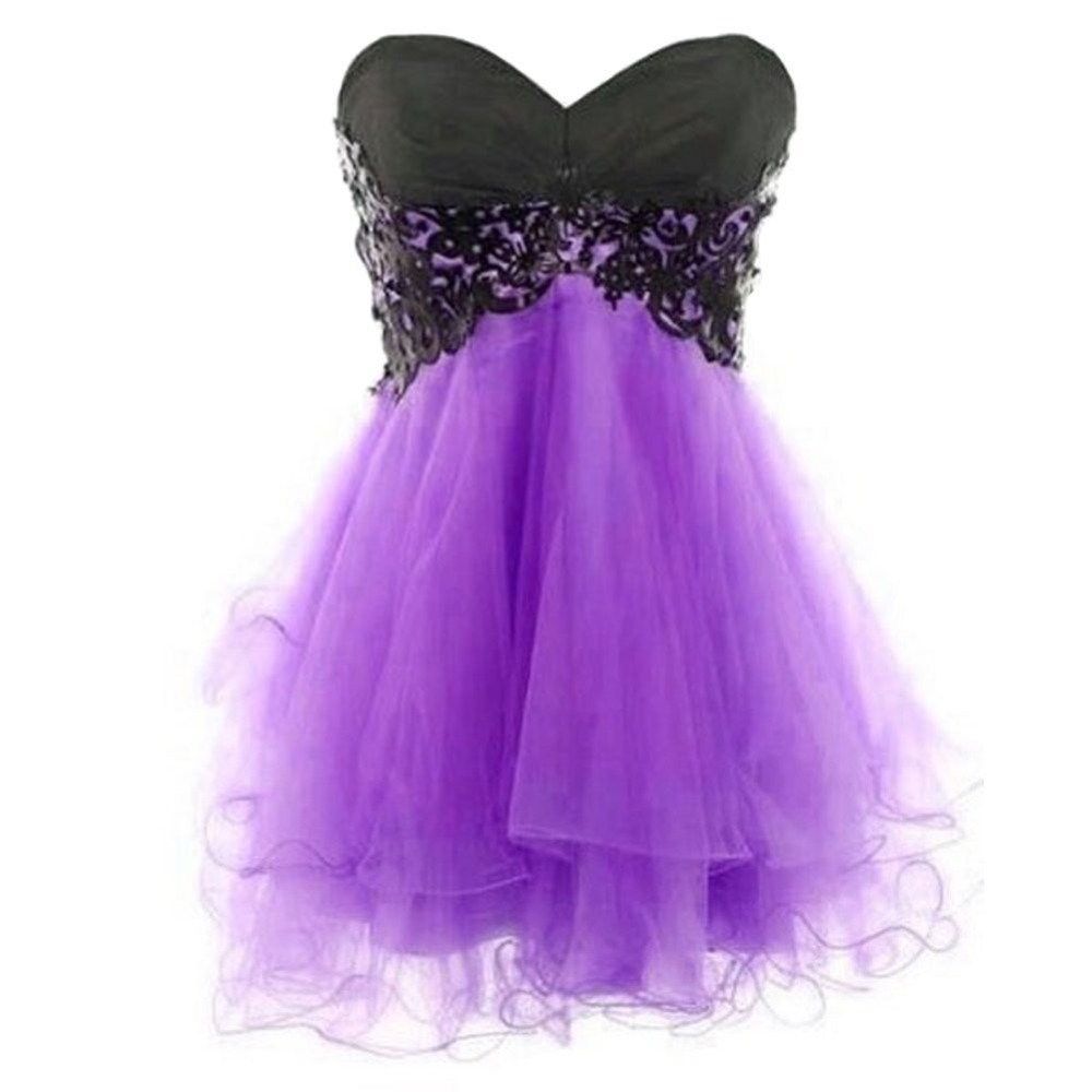 Cheap Simple Purple New Arrived Short Sweetheart Cocktail Dress Prom ...