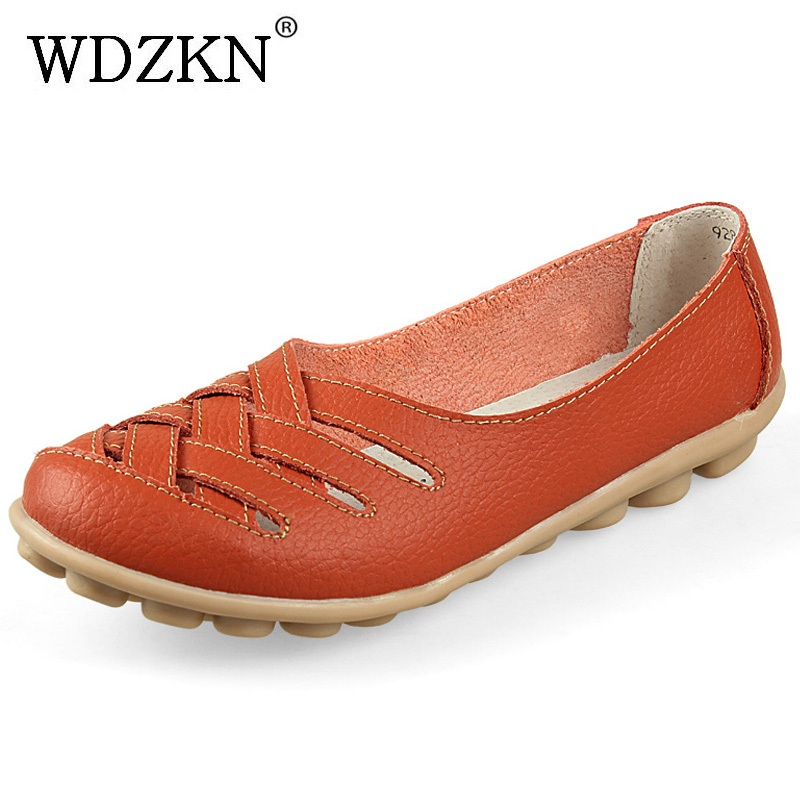 WDZKN Spring Summer Loafers Women Slip On Flats Shoes Split Leather Moccasins Zapatos Mujer Women Flat Shoes Woman Nurse Shoes wdzkn flower print women casual shoes slip on flats hollow out soft split leather women loafers big size ladies shoes 35 42