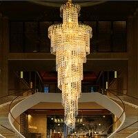 Холле отеля золото подвесные светильники гостиная светильники светодиодные освещение лобби кристалл светильник подвесной ламп современн