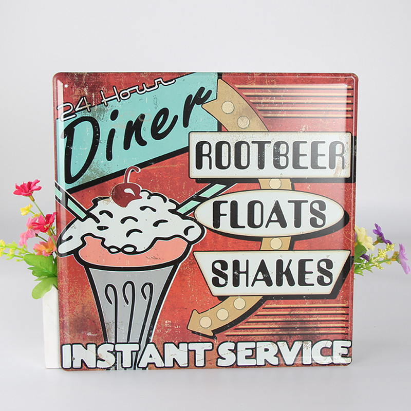 Diner Root Beer Floats Shakes Instant Service Vintage Home Decor Restaurant Vintage Metal Sign Shabby Chic