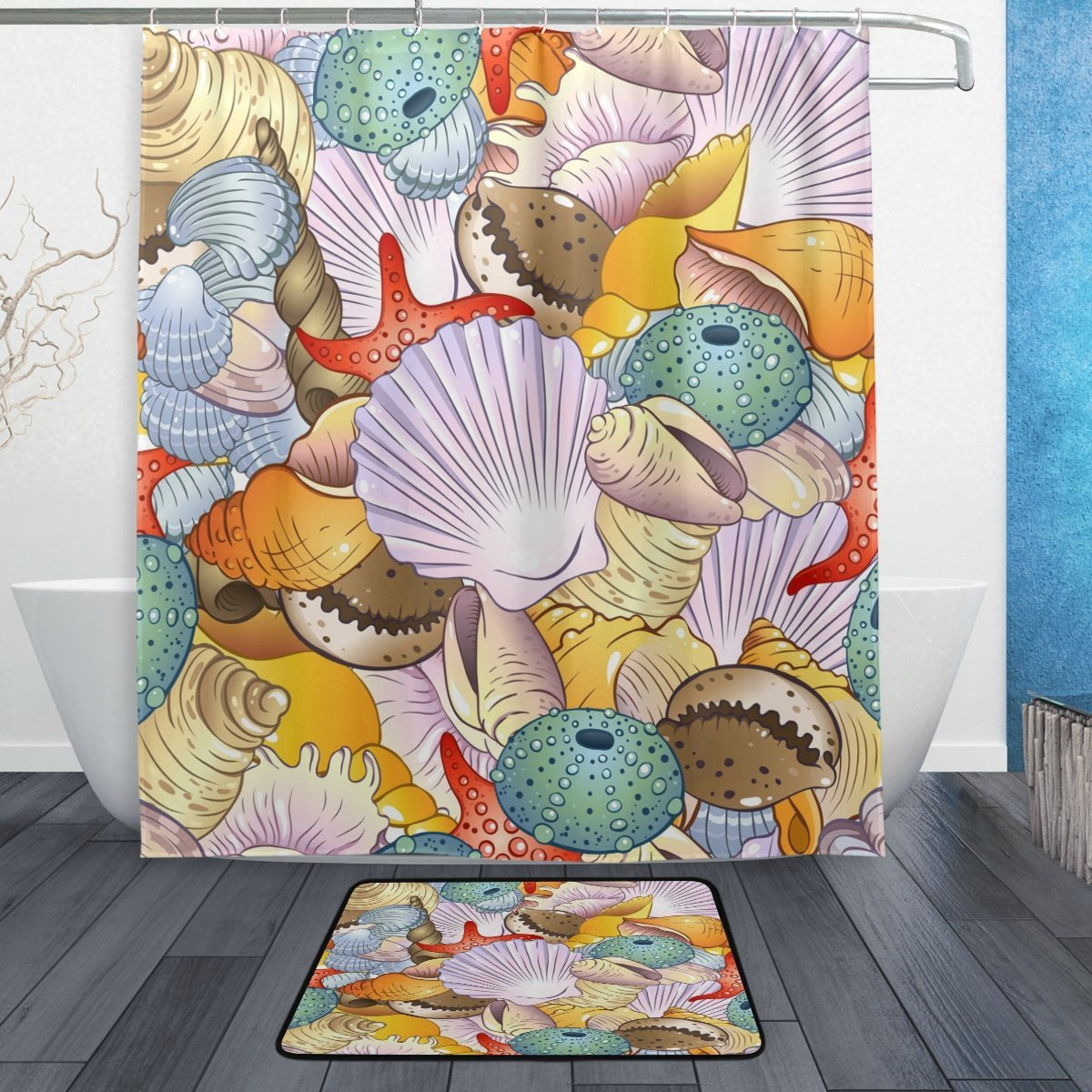 Colorful Sea Shell Waterproof Polyester Fabric Shower Curtain with Hooks Doormat Bath Floor Mat Bathroom Home Decor