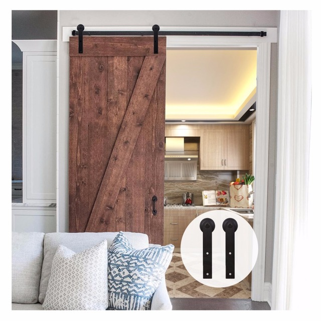 US $94 82 28% OFF|LWZH 6ft 7ft 8ft 9ft Sliding Barn Door Hardware Kit Top  Mounted Hanger Track Black Steel Closet Door Roller Rail for Single Door-in