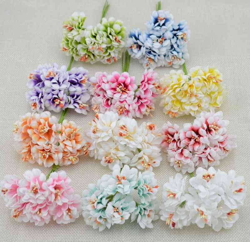 6 Pcs Bunga Palsu Sutra Gradien Benang Sari Handmake Buatan Bunga Buket Pernikahan Dekorasi DIY Wreath Hadiah Kerajinan Buku Tempel