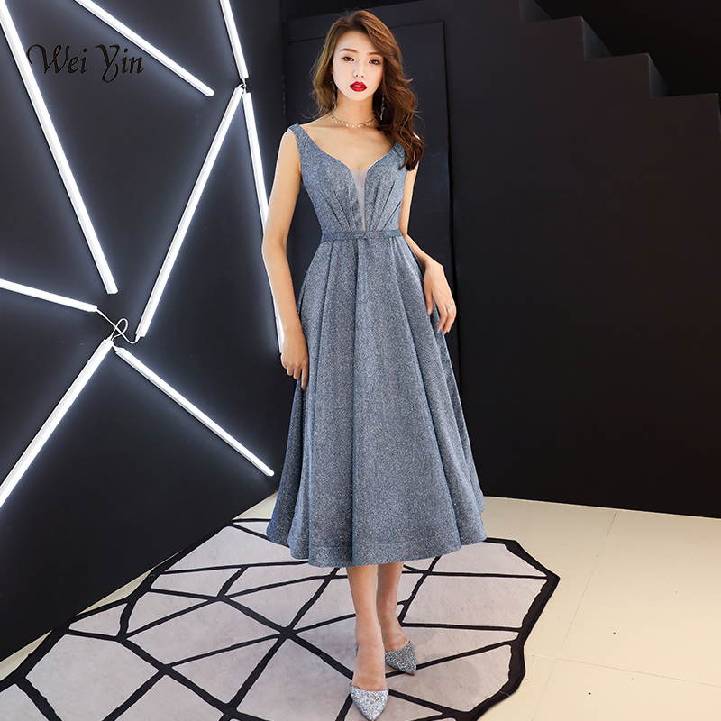 weiyin New   Evening     Dress   Long 2019 New V-Neck Women Elegant Satin A-Line   Evening   Party Gown   Dress   WY1392