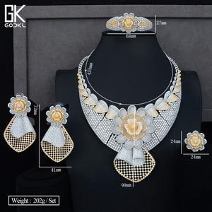 Image 5 - GODKI Luxe Zonnebloem Afrikaanse Lariat Sieraden Sets Voor Vrouwen Wedding Kubieke Zirkoon Crystal CZ DUBAI Zilveren Bruids Sieraden Sets