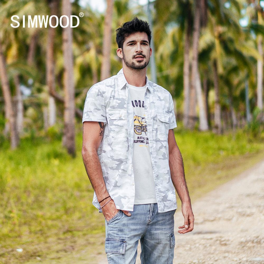 SIMWOOD 2019 summer new Camouflage shirts men shorts sleeve 100% cotton hawaii shirt breathable plus size brand clothing 190265