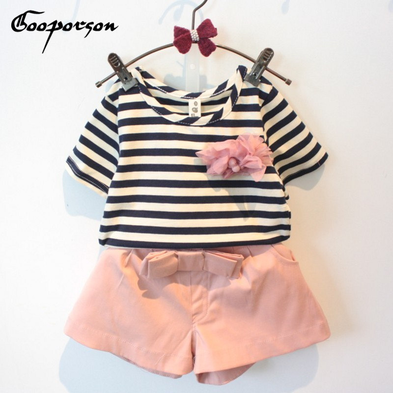 Girls Clothes Set Summer Children Set Stiped Kids Clothing Suit Shirt Pants With Flower Short Sleeve Baby Girl Fashion Sets