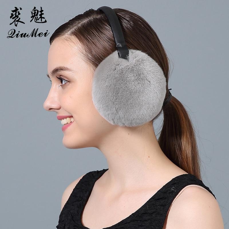 Women Winter Earmuffs Real Rabbit Fur Warm Earmuffs Lovely Earlap Russian Female Genuine Fur Plush Ear Muff Natural Fur