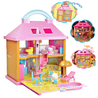 Hello Cat Coastal Resort Hotel Dollhouse Play Set Toy Classic Building Blocks Toy for Girl Gift Doll Accessories for DIY toy