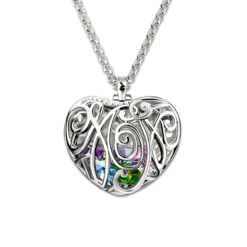 AILIN Mothers Jewelry Personalized Heart Cage Pendant With Birthstones Silver Family in Heart Necklace Unique Gifts for Mother цена