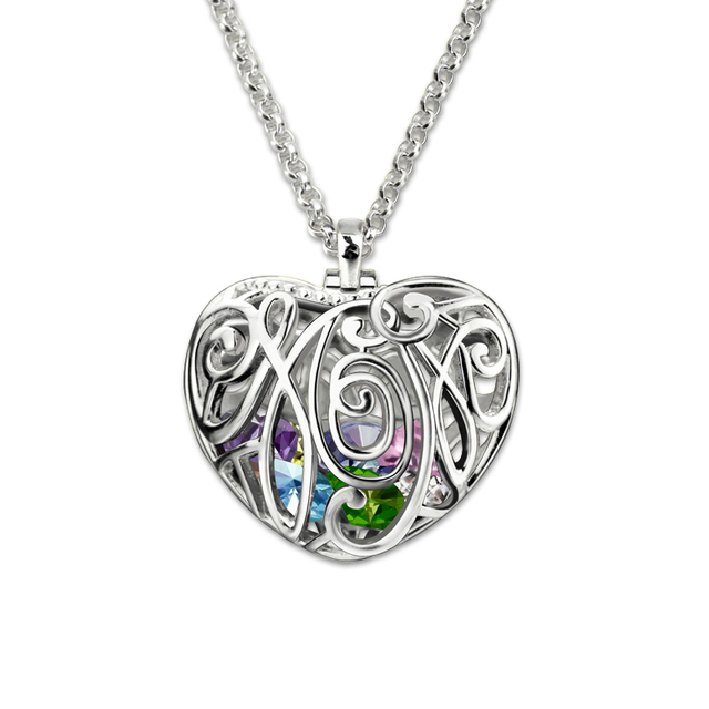 Mothers jewelry personalized heart cage pendant with birthstones mothers jewelry personalized heart cage pendant with birthstones silver family in heart necklace unique gifts for aloadofball Images