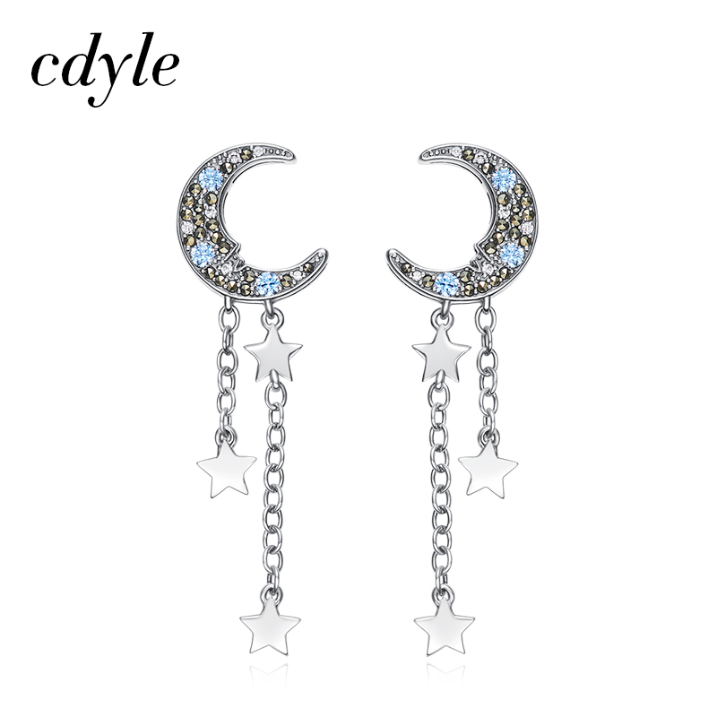Cdyle Crystals from Swarovski Dangle Earrings Women Earrings Luxury Fashion Tassel Jewelry Bijoux Elegant Romantic Lady Gift New zndiy bry 200rpm 200ma 40mm 12v dc replacement torque gear box motor silver