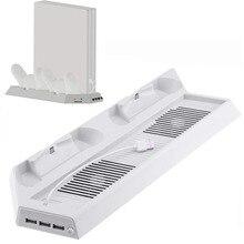 สีขาว Cooler พัดลม,แนวตั้ง Cooling Dual Controllers แท่นชาร์จ USB HUB สำหรับ PlayStation 4 Pro PS4 PRO คอนโซลตู้โชว์ V2