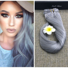 Full Shine Brazilian Natural Hair Silver Gray Clip in Human Hair Extensions Remy Human Hair Full Head 7 pcs Hair Extensions 100g