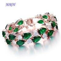 MOROW Women's Fashion AAA Cubic Zircon Rhinestone Bracelet Simple Metal Chain Bracelets for Women Gift Jewelry Accessories New