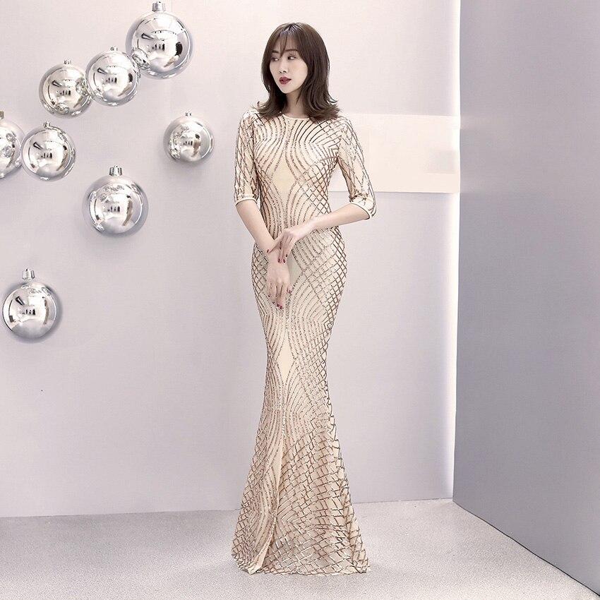 D172 Women Spring Elegant Champion Sequined Short Sleeve Long Dress