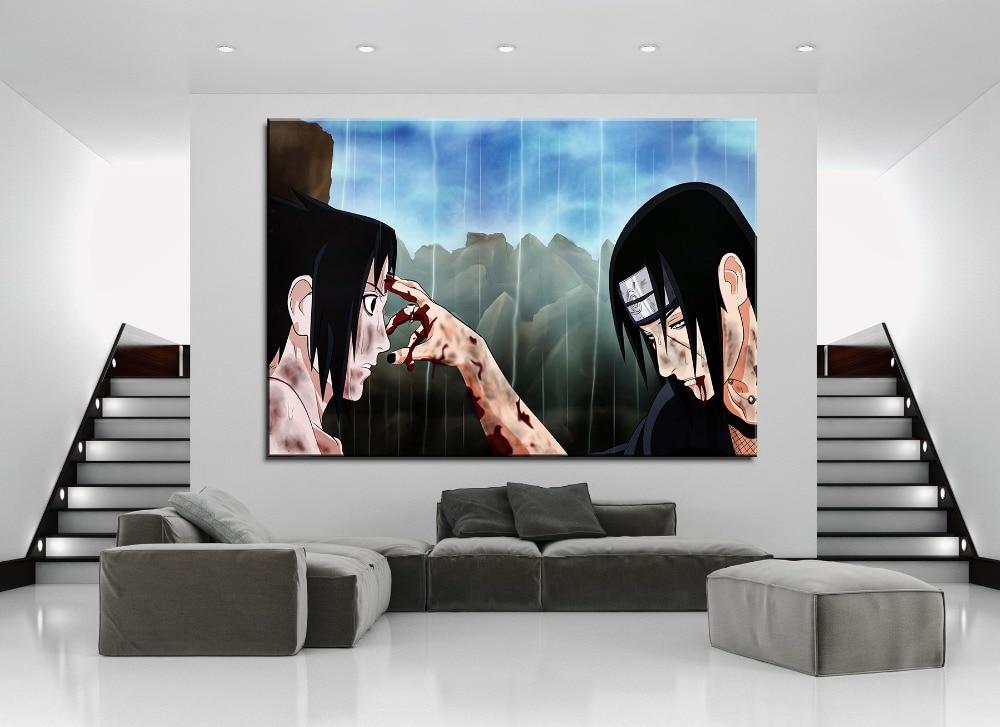 Modern Canvas Painting Frame Print Type 1 Pcs Itachi Uchiha And Sasuke Uchiha Picture Home Decor Wall Art Anime Naruto Poster