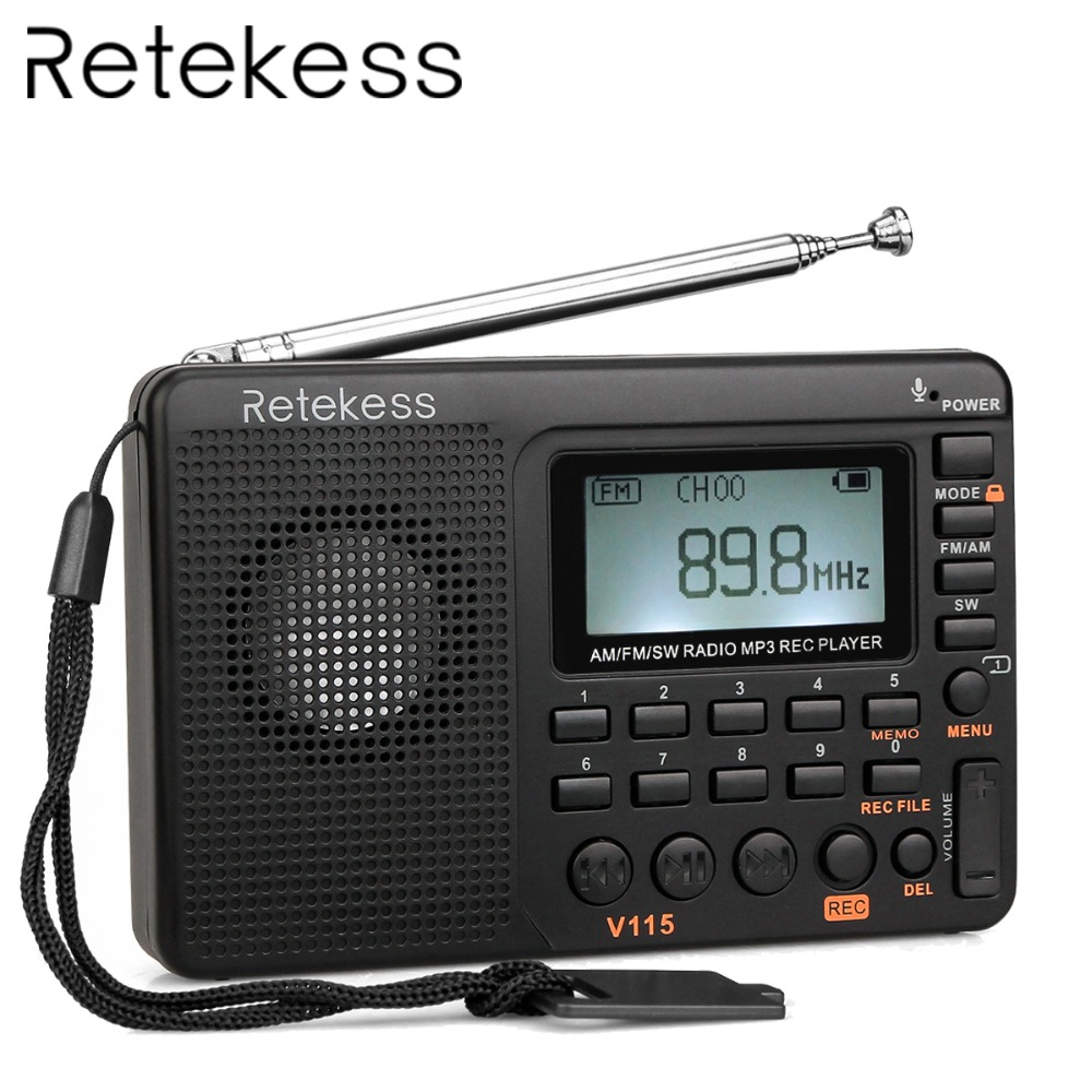 TIVDIO V-115 FM/AM/SW Radio Ontvanger Bass Sound MP3 Speler REC Recorder Draagbare Radio met Sleep Timer f9205A
