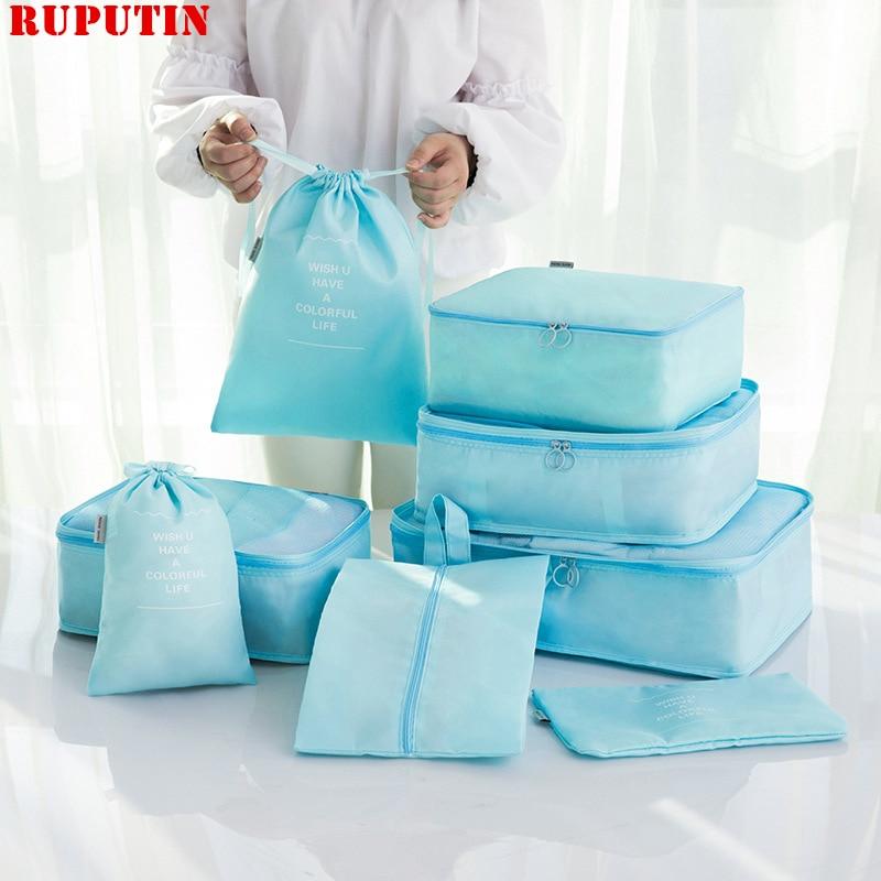 RUPUTIN 8Pcs/set Travel Packing Cube Bag Organizer Clothe Mesh Storage Bag Underwear Bra Sock Pouch Wash Bags Travel Accessories