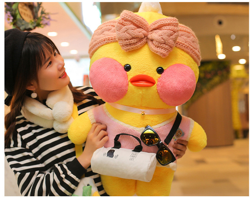 80cm Lalafanfan Plush Stuffed Toys Doll Kawaii Cafe Mimi Yellow Duck lol Change Clothes Plush Toys Girls Gifts Toys for Children 13