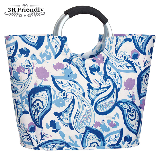 New High End aluminum handle shopping bag tote Food Drinks Shiny colors Portable large volume vegetable market water resistance