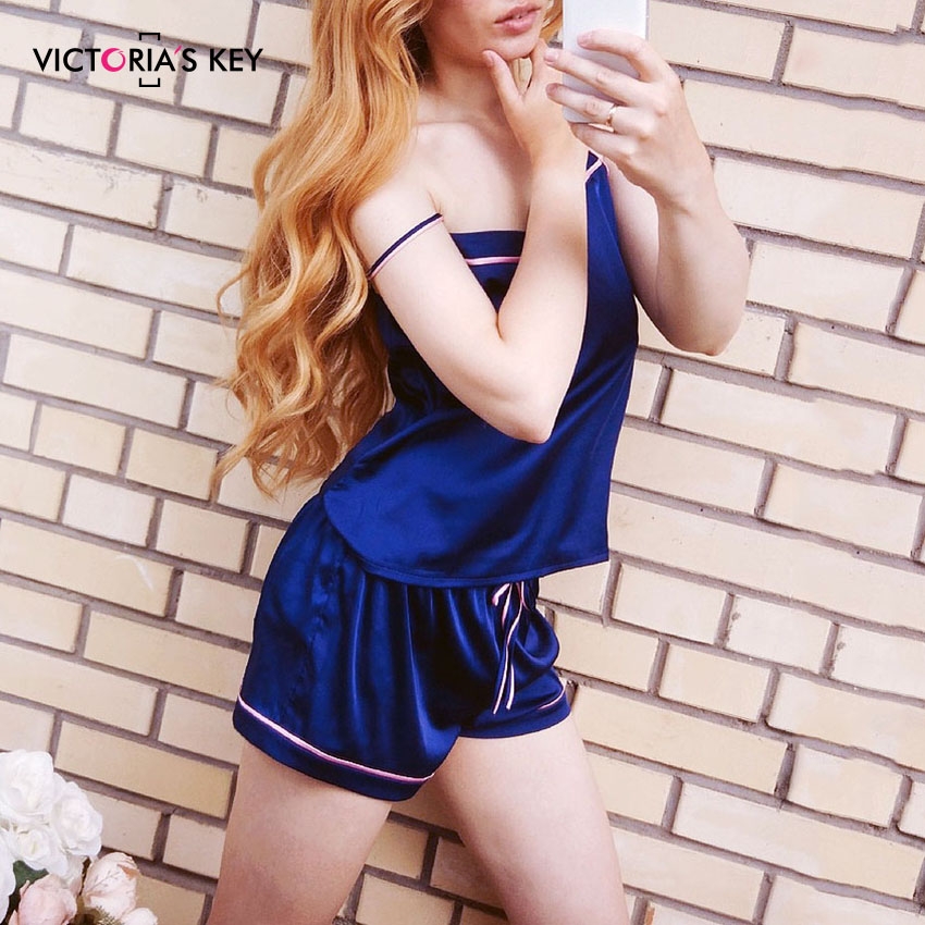 Image 2 - VICTORIA'S KEY Contrast Stripe Side Navy Cami Top Satin Shorts Suits Female Summer Home Clothes Women Pajama Set Sexy Sleepwear-in Pajama Sets from Underwear & Sleepwears
