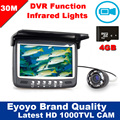 """Free Shipping!30M 4.3"""" Underwater 1000TVL Ice Fishing Camera Fish Finder VIdeo Recording DVR 8 infrared LED Sunvisor+4G TF Card"""