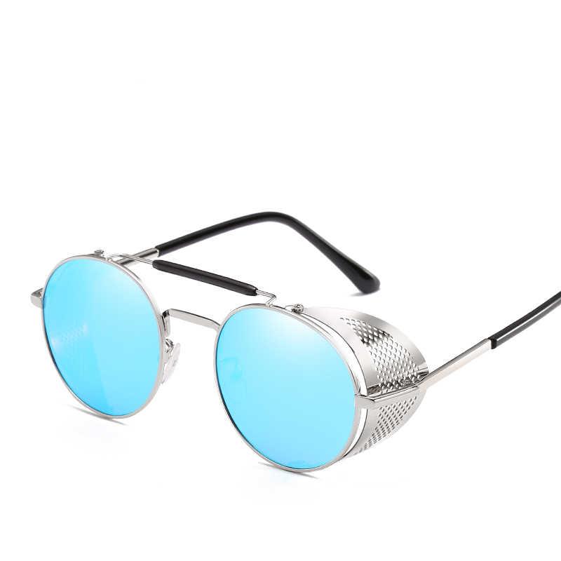 3bfb75c49f9a ... Retro Round Metal Sunglasses Steampunk Men Women Fashion Glasses Brand  Designer Retro Vintage Sunglasses Oculos De ...