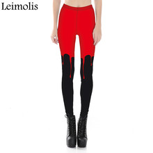 Leimolis adventure time punk rock Harajuku black milk push up fitness sexy gothic 3d print Dark Red blood women leggings