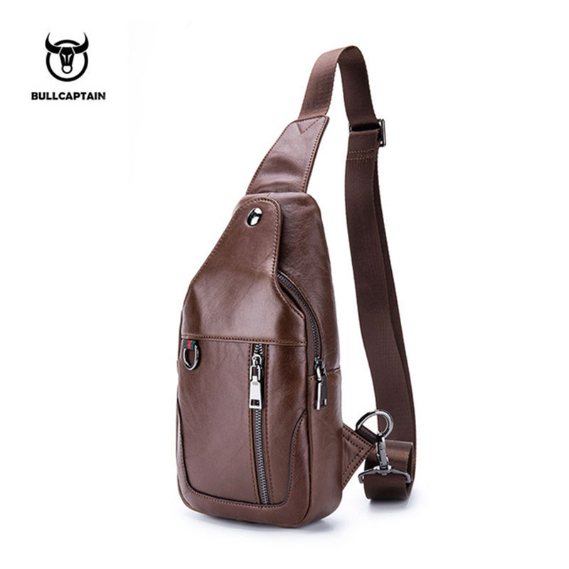BULLCAPTAIN Famous Brand Genuine Leather Mens Chest Bags Fashion Travel Crossbody Bag Man Small Messenger Bags For Men Handbag стоимость