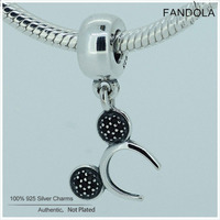 Fandola 100 925 Sterling Silver Cartoon Headband Dangle Charms Beads For Jewelry Making Fits Women Diy