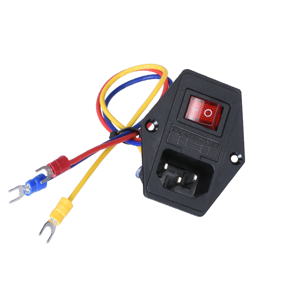 3d Printer Parts 15A 250V Rocker Switch Power Switch Socket With Red Triple AC Power With Copper 3pin