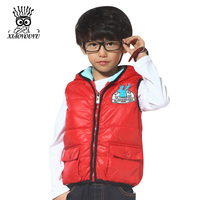 XIAOYOUYU Size 110-150 cm New Fashion Boy Cotton Vest Coats Hooded Design Kids Casual Waistcoat Children Spring Winter Clothes