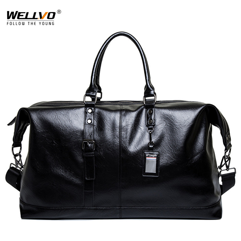 Men Boston Travel Bag PU Leather Men's Handbags Big Tote Hand Luggage Duffle Weekend Bag Crossbady Mans Bags Casual Hot XA235ZC