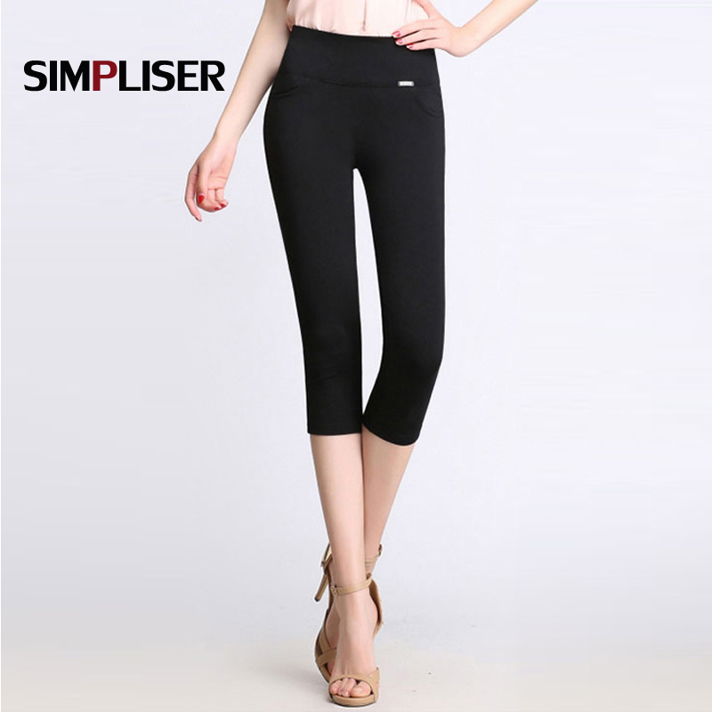 Women   Capris   Pencil   Pants   For Summer 2019 Skinny High Waist Leggings High Waist Trousers White Black Red Plus Size   pant