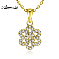 AINUOSHI 10K Solid Yellow Gold Pendant Hollow Flower Pendant SONA Simulated Diamond Women Men Gold Jewelry 1.2g Separate Pendant