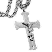 цена на Hot Sale Christian Jesus Cross Pendant Necklaces 6mm Thick Link Byzantine Chain Stainless Steel Silver Men Jewelry Gift