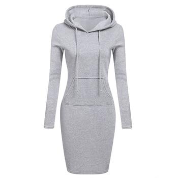 Zebery Autumn Winter Warm Sweatshirt Long-sleeved Dress 2018 Woman Clothing Hooded Collar Pocket Design Simple Woman Dress