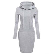 Zebery Autumn Winter Warm Sweatshirt Long-sleeved Dress 2018 Woman Clothing Hooded Collar Pocket Design Simple Woman Dress(China)