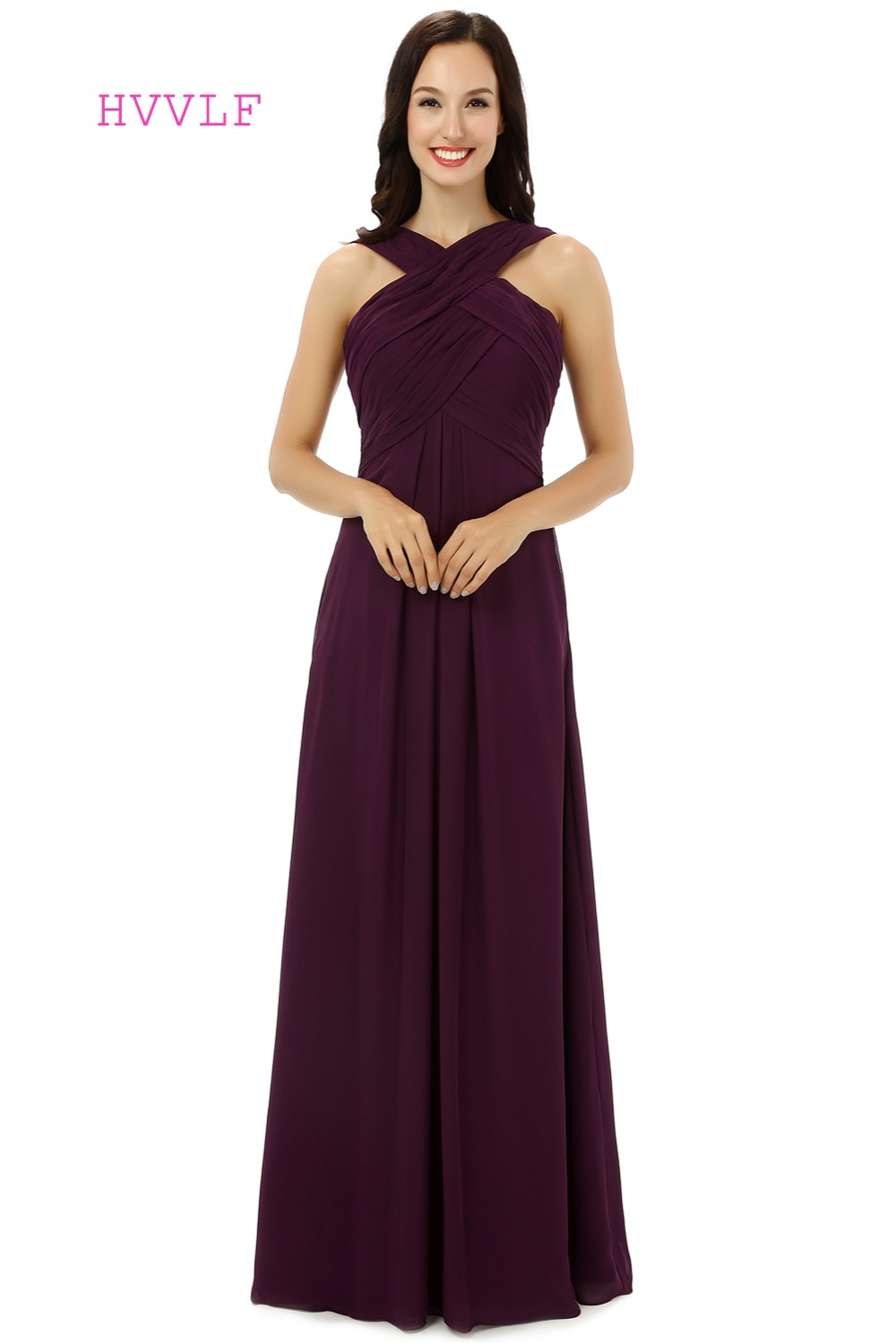 HVVLF 2019 Cheap   Bridesmaid     Dresses   Under 50 A-line Halter Floor Length Purple Chiffon Wedding Party   Dresses