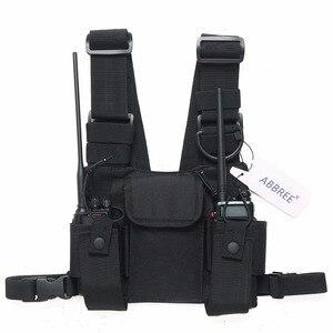 Image 2 - Abbree راديو الصدر تسخير الصدر الجبهة حزمة الحقيبة الحافظة الصدرية تلاعب الصدر حقيبة ل اسلكية تخاطب موتورولا Baofeng UV 5R TYT Wouxun
