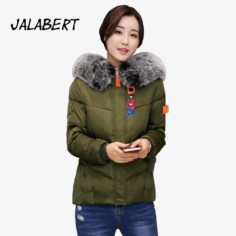 2017 new Female winter short cotton Hit color full coat Slim thin jacket women fashion hooded big fur collar warm parkas coat 2017 winter new cotton coat women short slim big fur collar hooded thick jacket female fashion printing warm parkas